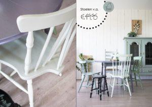 Geschilderde houten stoelen met prijs