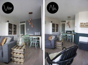 Voor en na woonkamer
