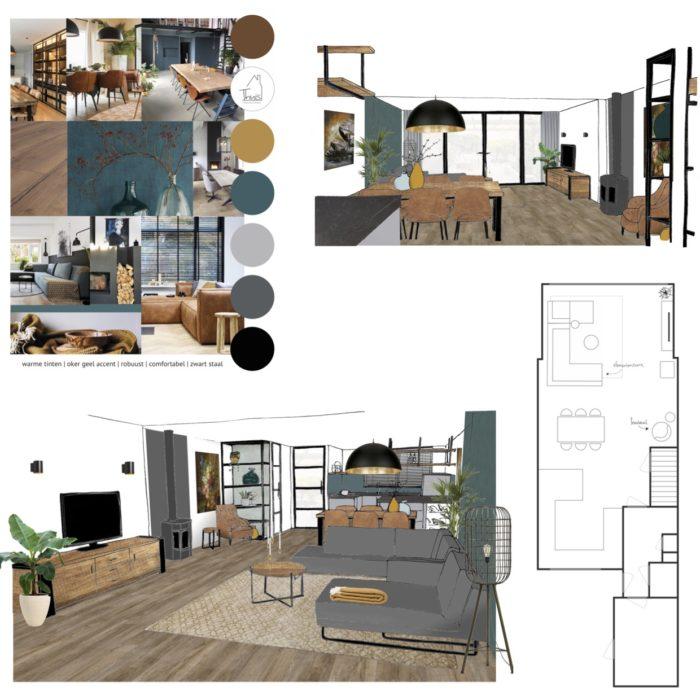 interieuradvies stoere, warme, industriële woonkamer