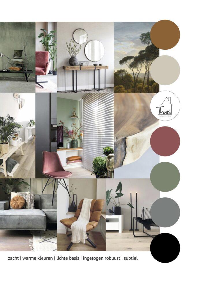 Moodboard woonkamer scandinavische, stoere woonstijl met een lichte basis en warme kleuren